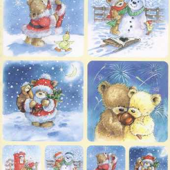 3D Stanzbogen Popcorn the Bear Weihnachten Set 1