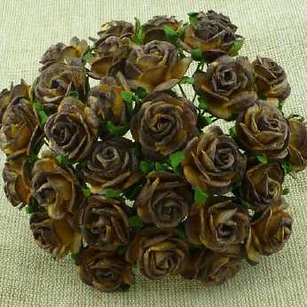 10 Stk. open roses 2-tone chocolate brown 10 mm