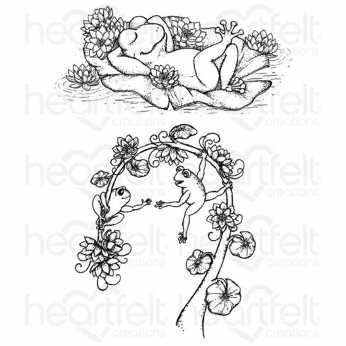 Heartfelt Creations Cling Stamps Winking Frogs