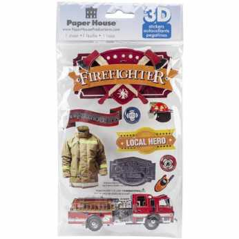 Paper House 3D Sticker Firefighter