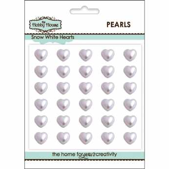 Pearl Hearts Snow White 6 mm