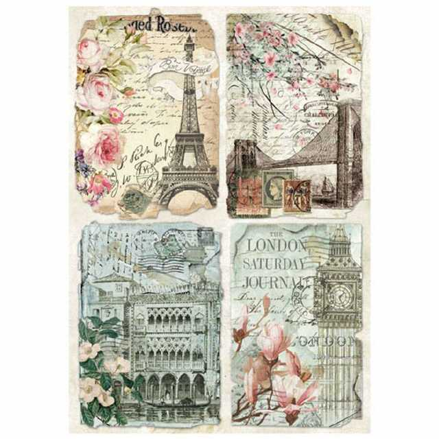 Stamperia Rice Paper Vintage Postcards