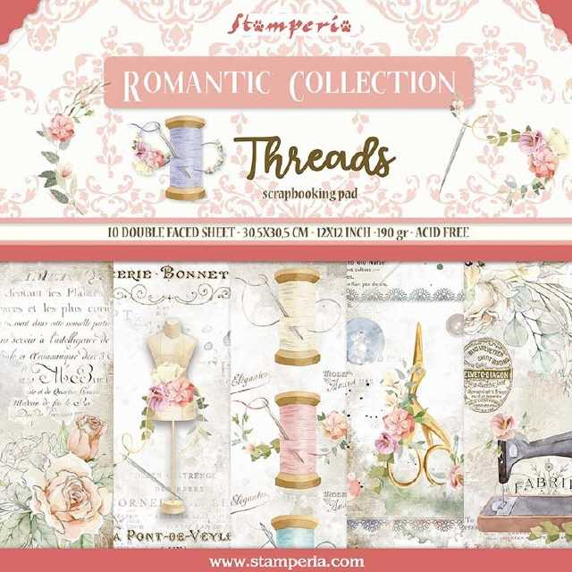 Stamperia Paper Pad Romantic Coll. Threads 12x12""